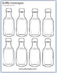 message in a bottle sand and water mark making activity for
