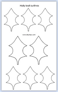 Holly Leaf Outline Template For Playdough Activities