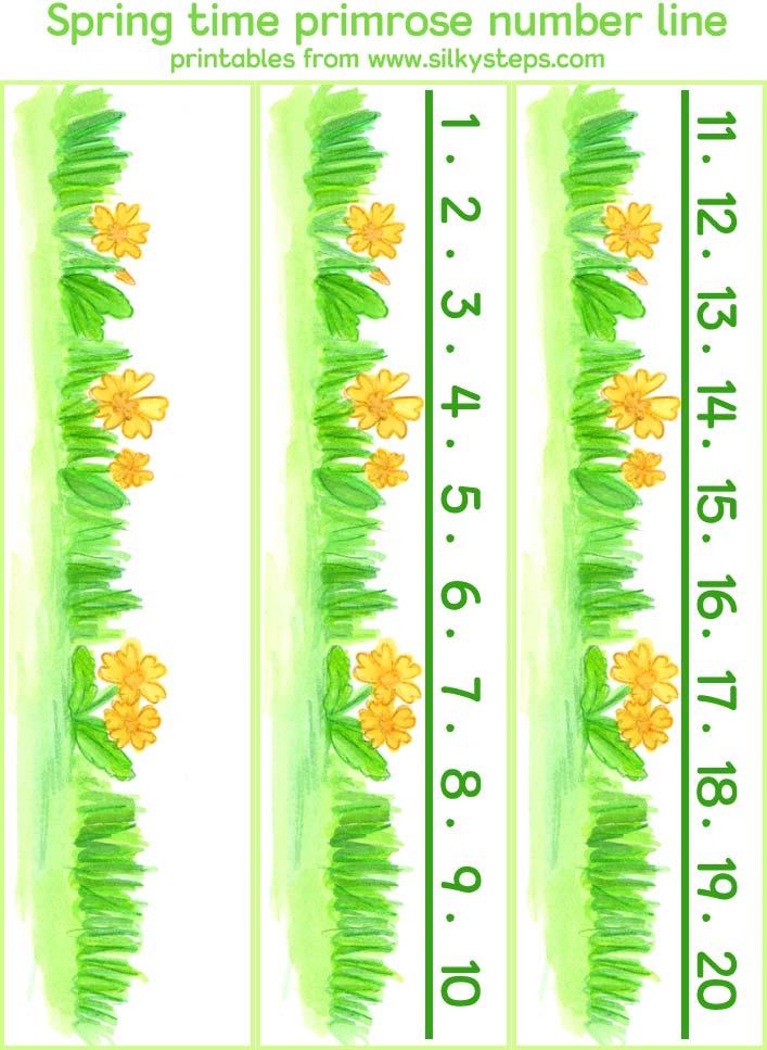 Print the spring time primrose themed numberlines v ia your device's ...