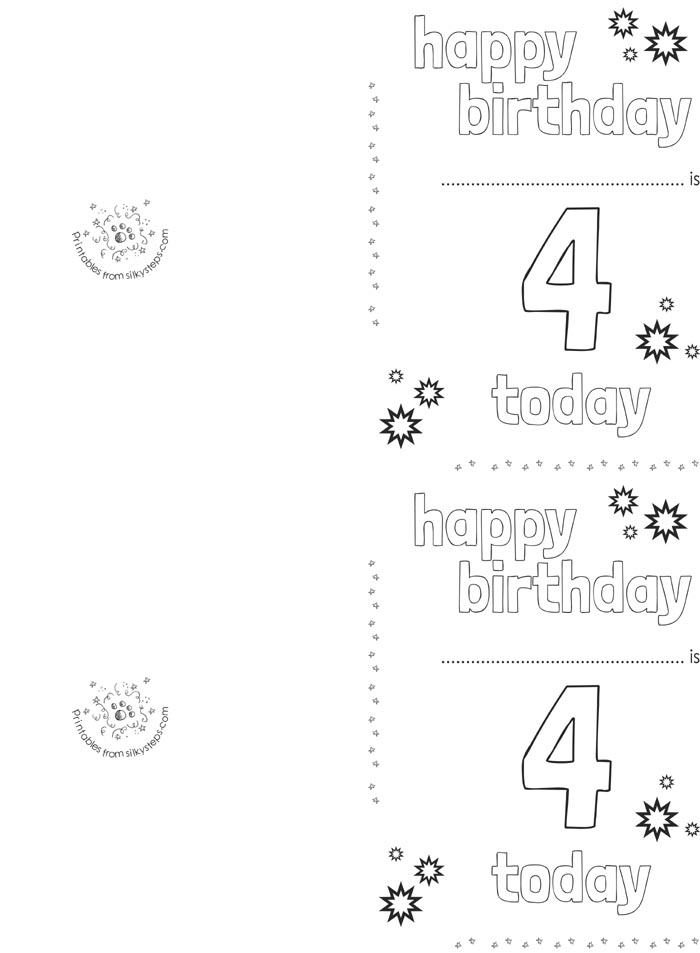 4 Today Birthday Card Printable