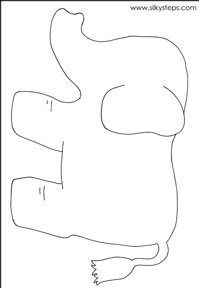 Elephant Outline Template For Craft Activity
