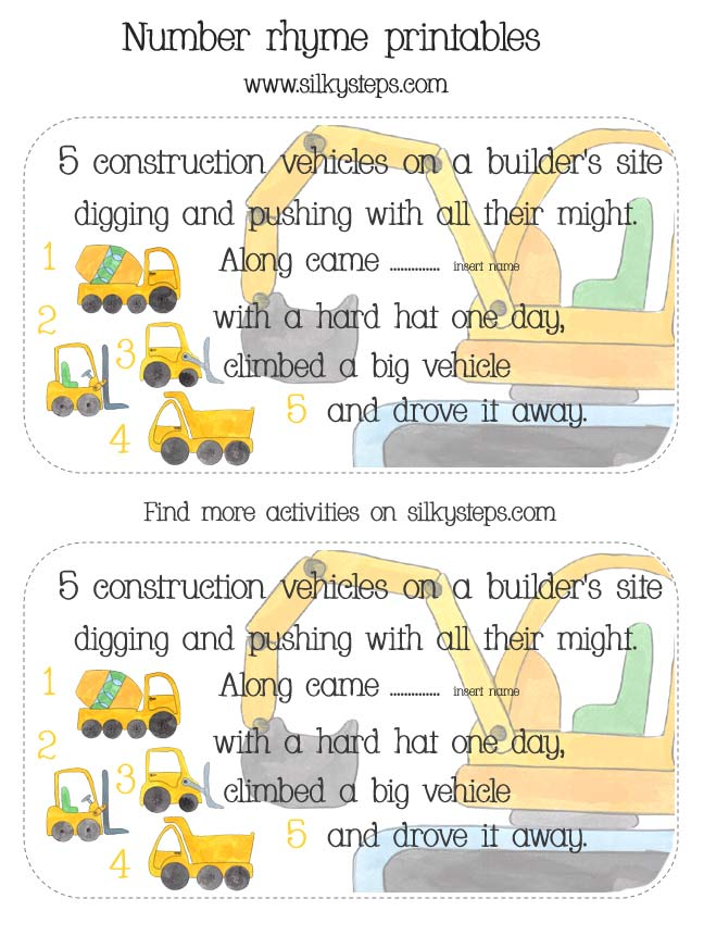 ... on a builder's site - counting song, number rhyme card printables