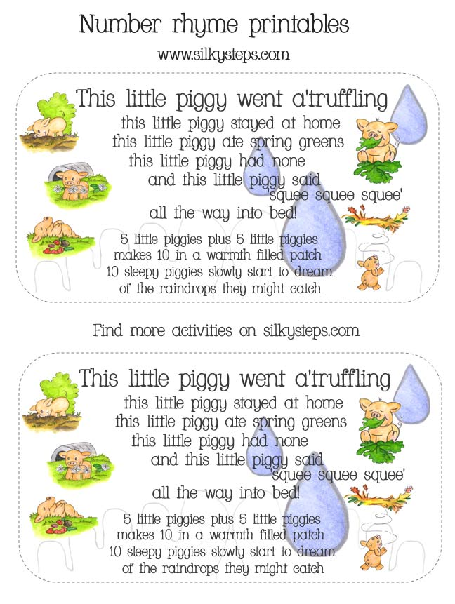 Adapted This Little Piggy Nursery Toe Counting Rhyme Card Printables For Preschool Numberand Song Lyric Activities