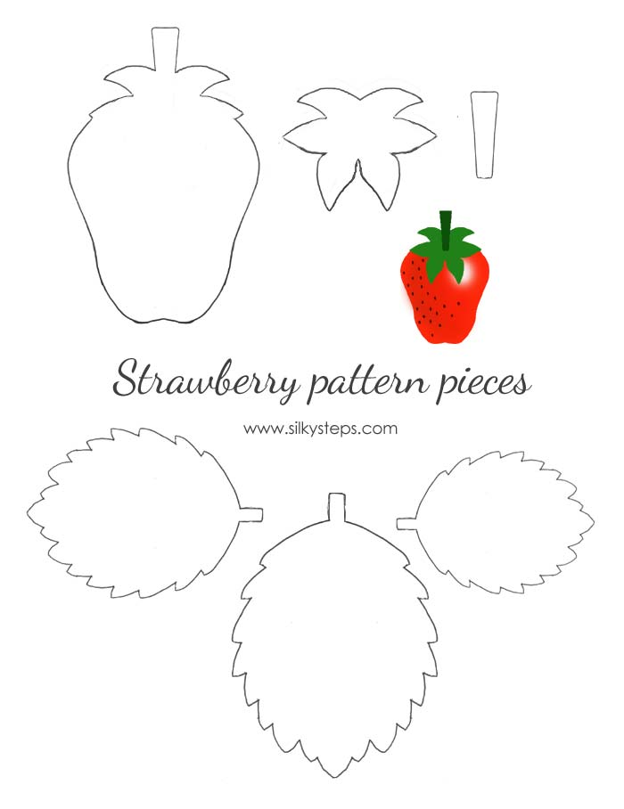 Strawberry pattern templates - outlines for paper felt